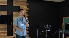 Preaching God's Word during the first session.